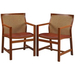 1980s Rud Thygesen and Johnny Sorensen Mahogany King Series Mahogany Armchairs