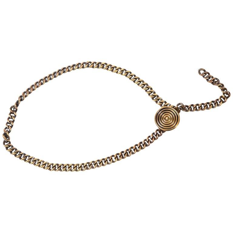 1980s Saint Laurent Copper Chain Belt For Sale