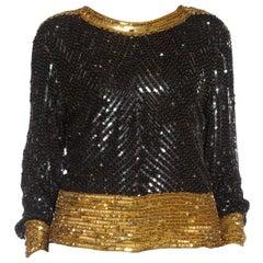 1980S SAINT LAURENT RIVE GAUCHE Black & Gold Silk Chiffon Beaded Top
