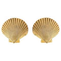 1980s Saint Laurent Seashell Clip on Earrings