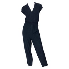 1980s Saks 5th Avenue Black Terrycloth Short Cap Sleeve Vintage 80s Jumpsuit