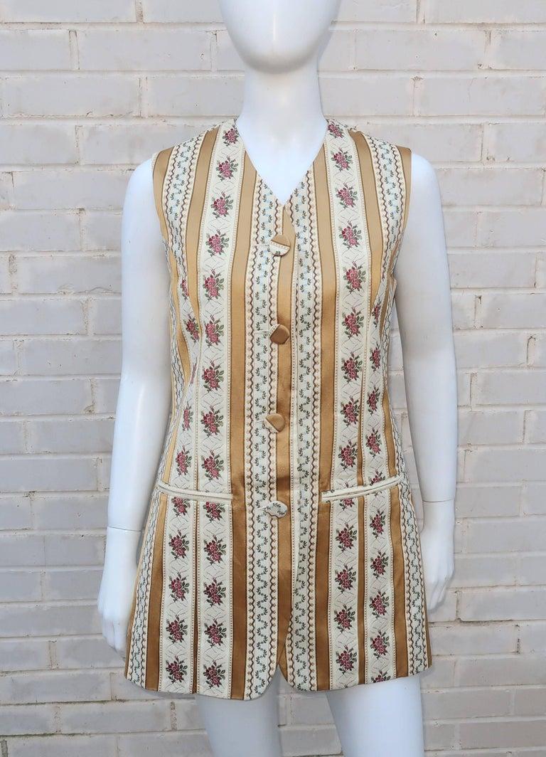 1980 S Saks Fifth Avenue Floral Brocade Waistcoat Vest For