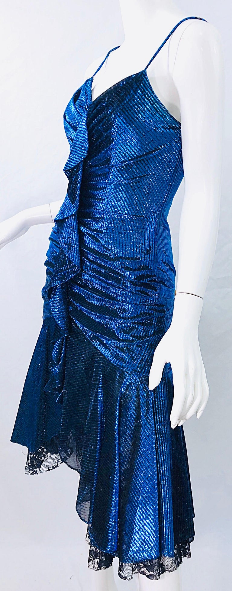 1980s Samir Electric Blue Lurex + Black Lace Handkerchief Hem Vintage 80s Dress For Sale 5