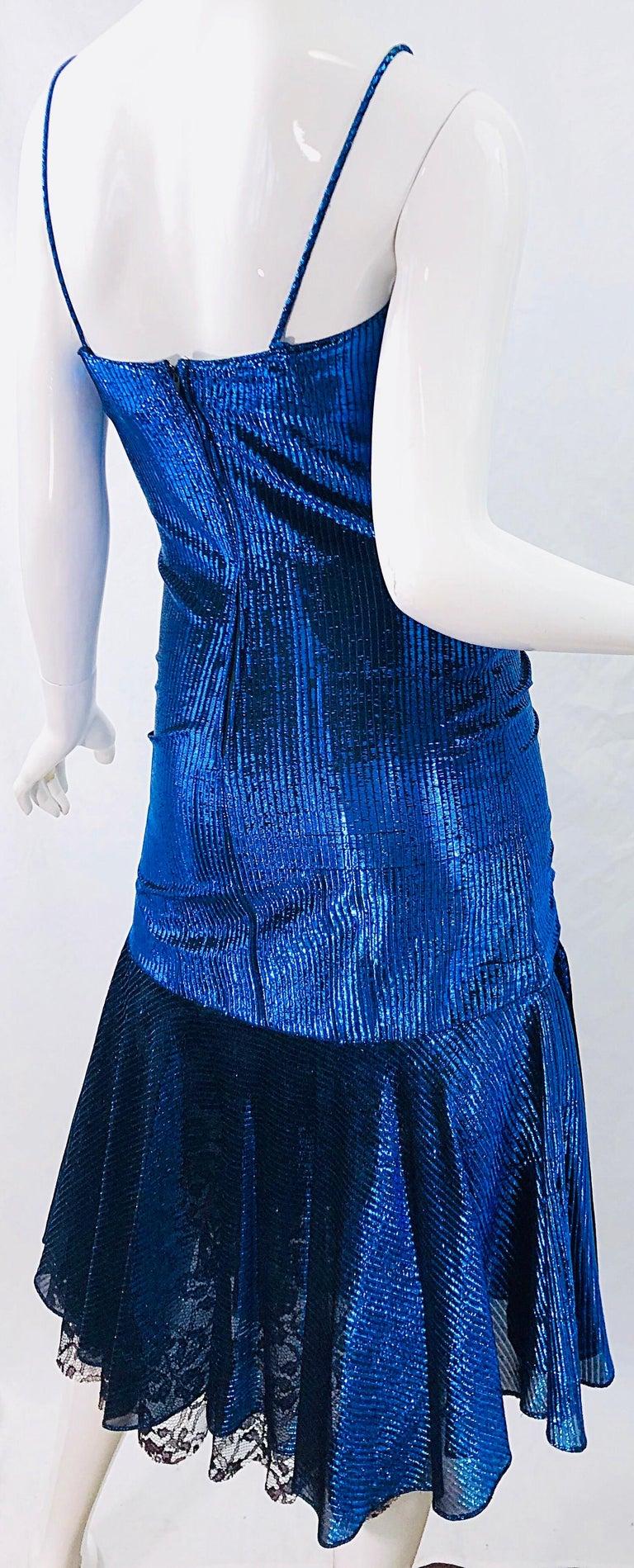1980s Samir Electric Blue Lurex + Black Lace Handkerchief Hem Vintage 80s Dress For Sale 6