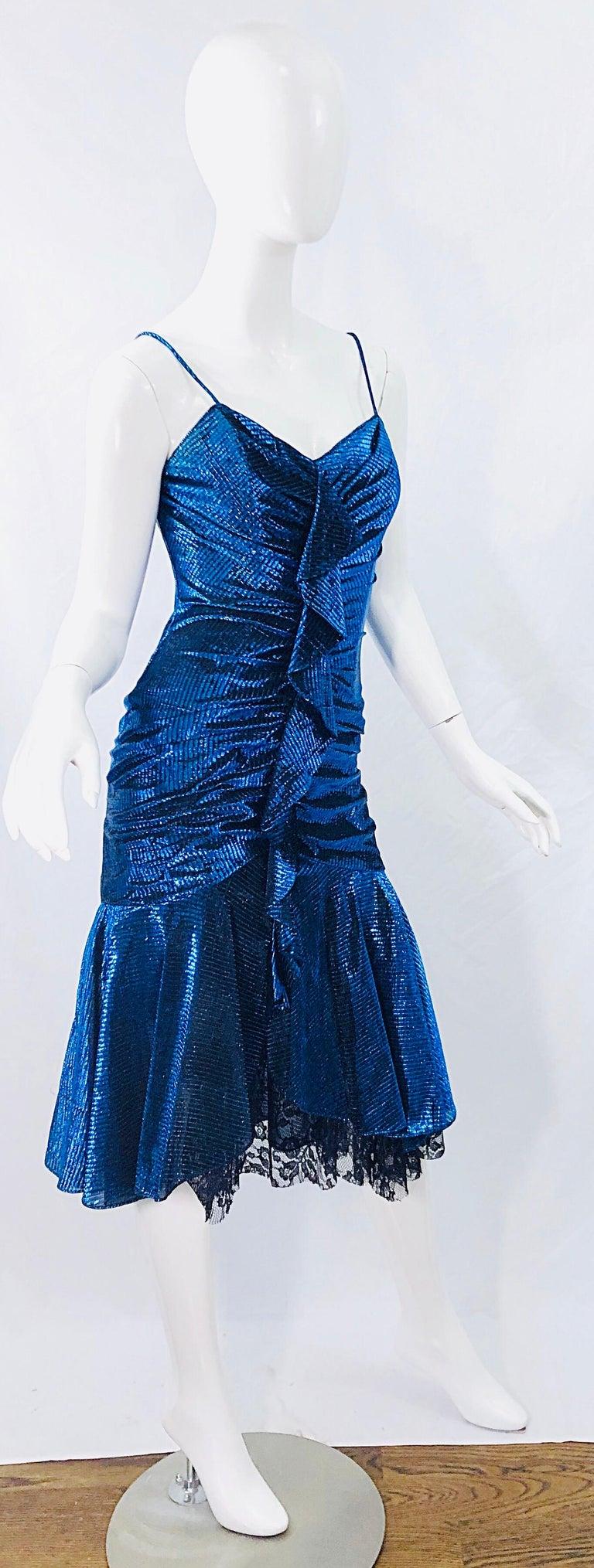 1980s Samir Electric Blue Lurex + Black Lace Handkerchief Hem Vintage 80s Dress For Sale 7