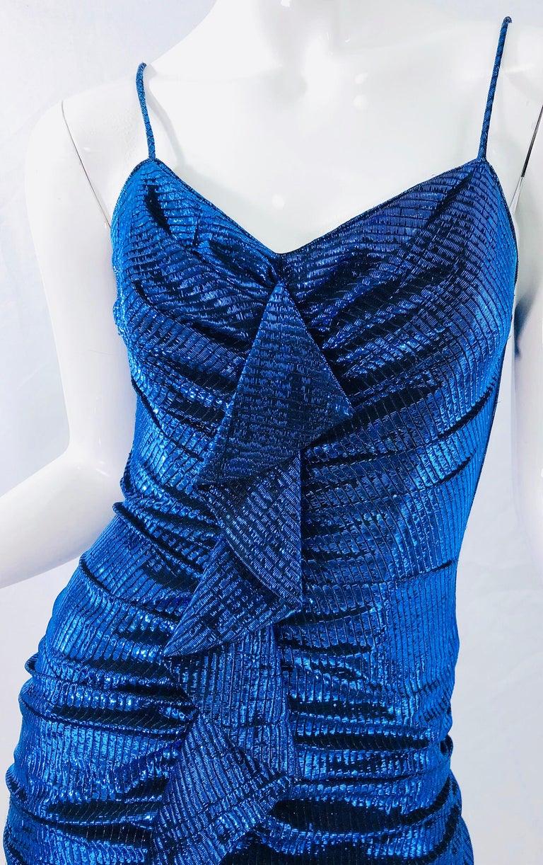 Purple 1980s Samir Electric Blue Lurex + Black Lace Handkerchief Hem Vintage 80s Dress For Sale