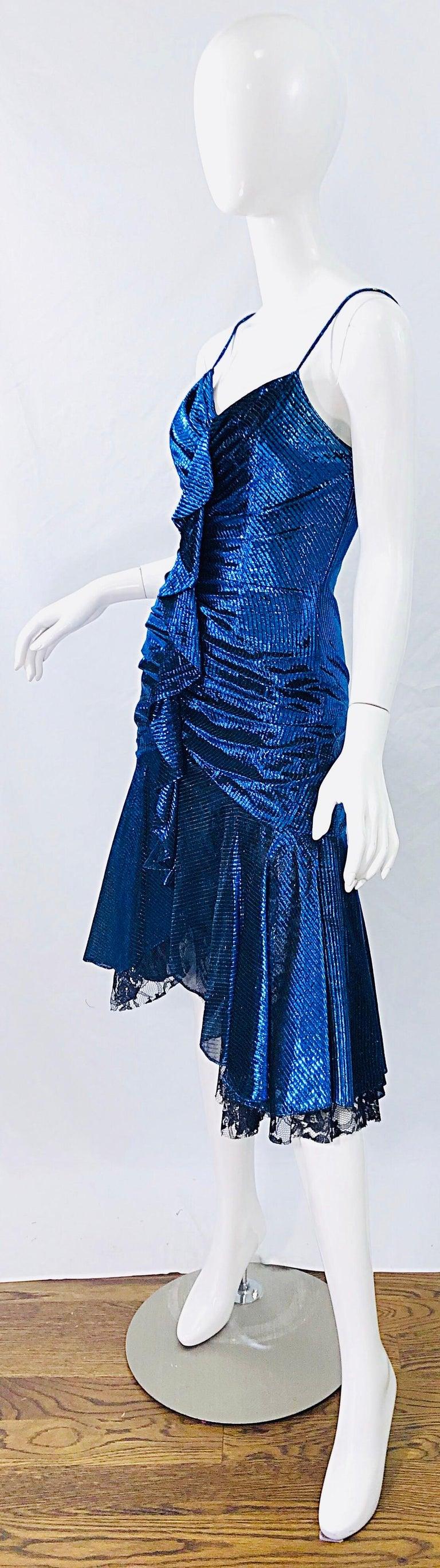 Women's 1980s Samir Electric Blue Lurex + Black Lace Handkerchief Hem Vintage 80s Dress For Sale