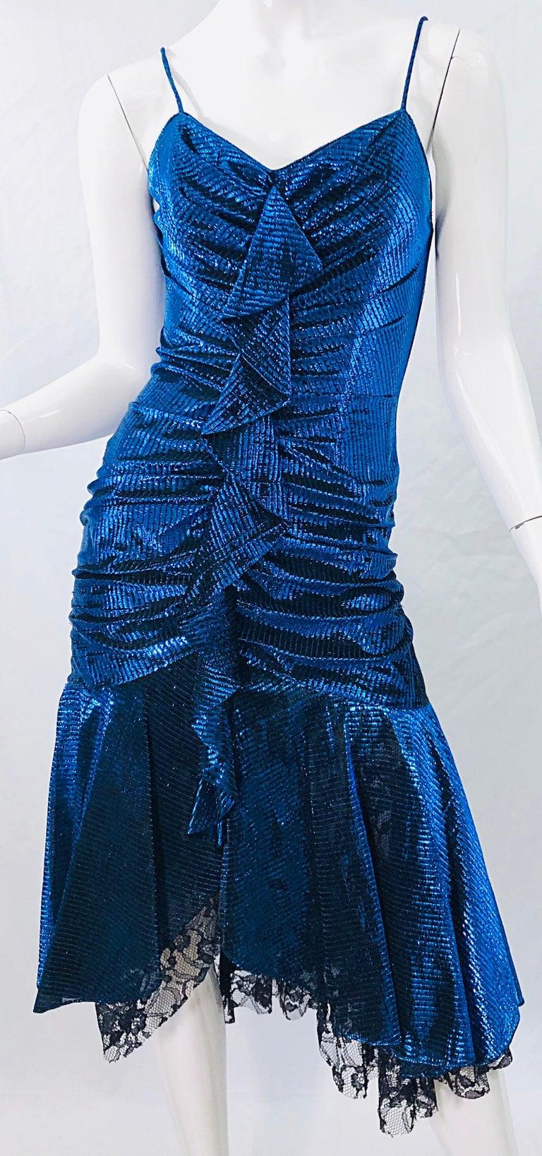 1980s Samir Electric Blue Lurex + Black Lace Handkerchief Hem Vintage 80s Dress For Sale 1