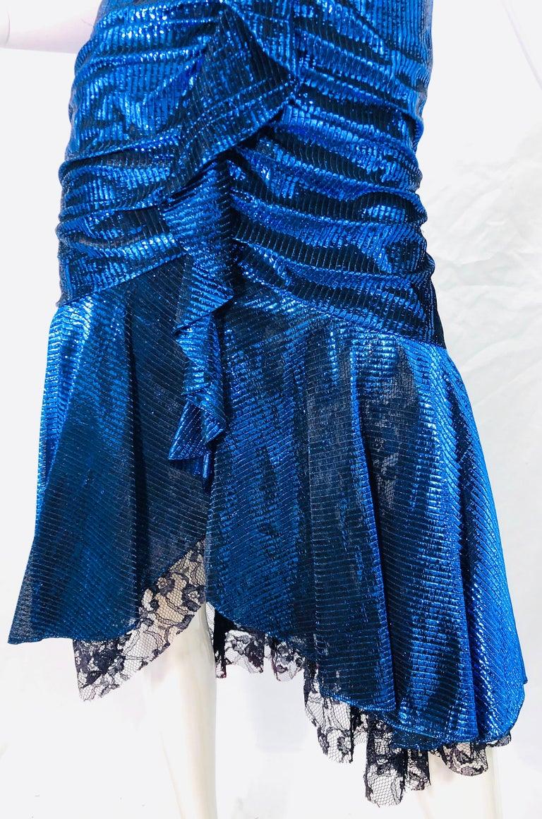 1980s Samir Electric Blue Lurex + Black Lace Handkerchief Hem Vintage 80s Dress For Sale 2