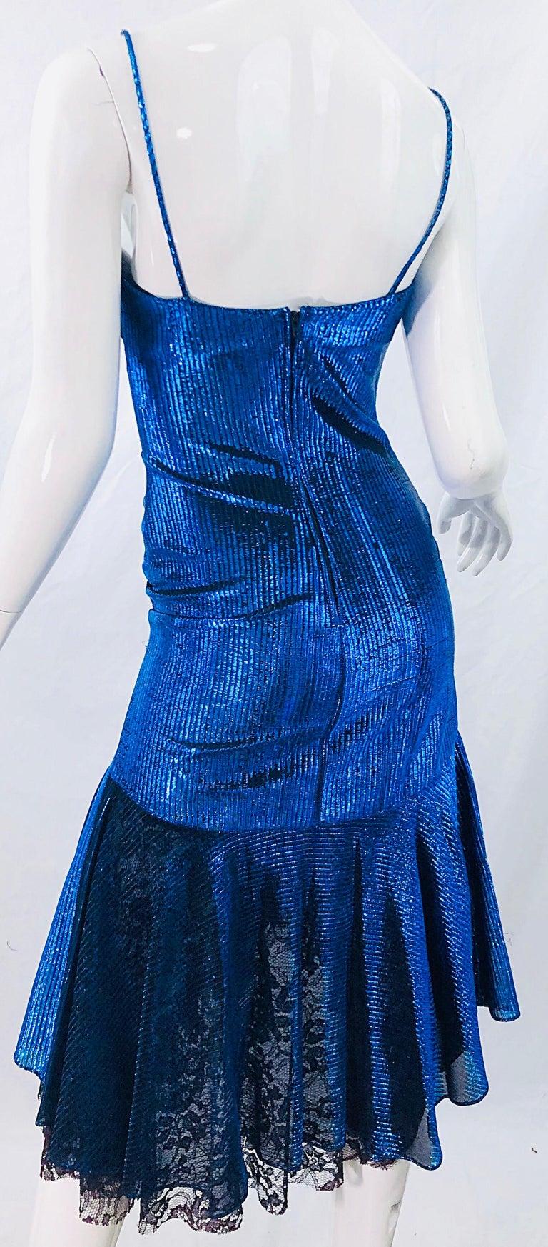 1980s Samir Electric Blue Lurex + Black Lace Handkerchief Hem Vintage 80s Dress For Sale 3