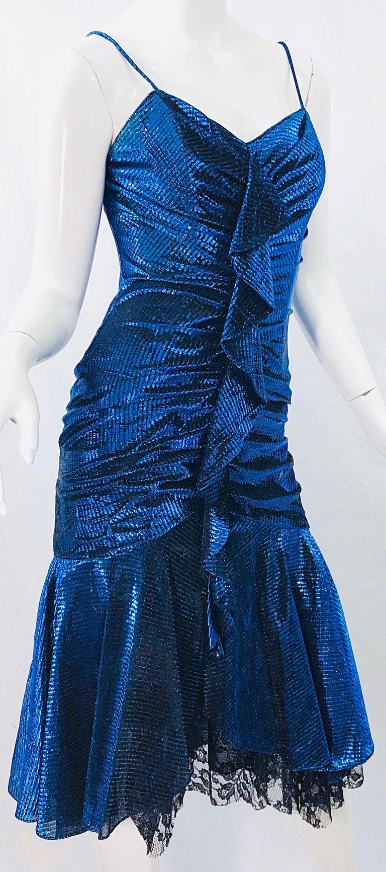 1980s Samir Electric Blue Lurex + Black Lace Handkerchief Hem Vintage 80s Dress For Sale 4