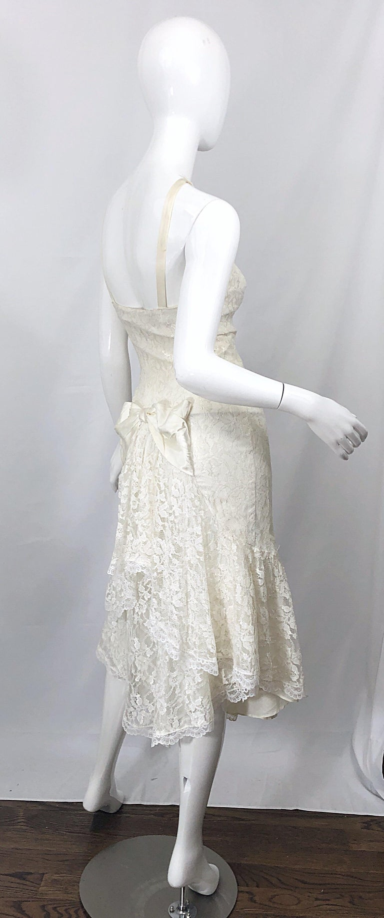 1980s Samir Ivory White Lace Handkerchief Hem Embroidered Vintage 80s Dress For Sale 8