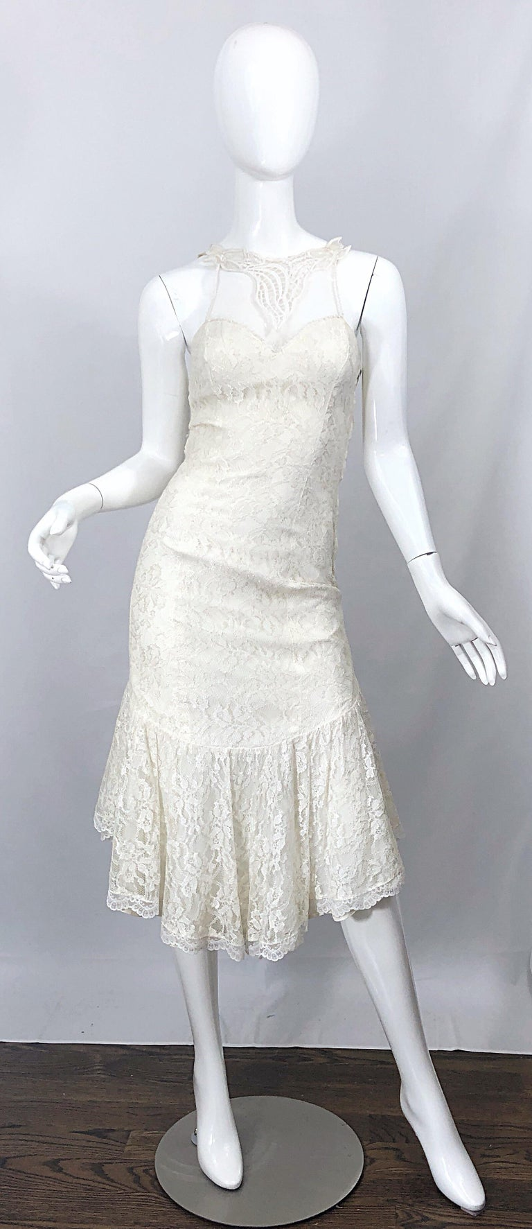 1980s Samir Ivory White Lace Handkerchief Hem Embroidered Vintage 80s Dress For Sale 9