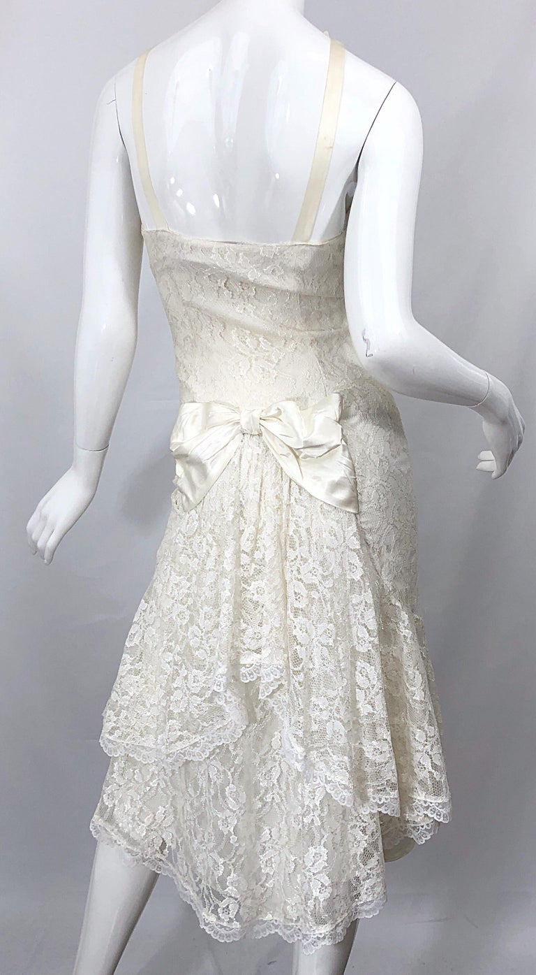 Women's 1980s Samir Ivory White Lace Handkerchief Hem Embroidered Vintage 80s Dress For Sale