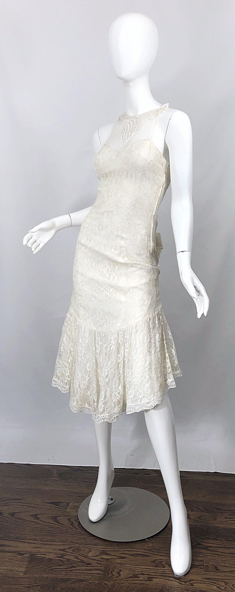 1980s Samir Ivory White Lace Handkerchief Hem Embroidered Vintage 80s Dress For Sale 1