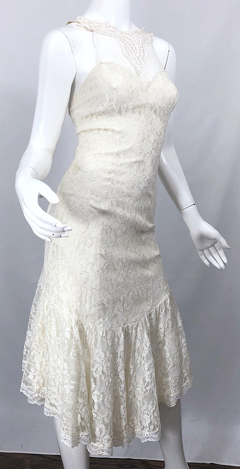 1980s Samir Ivory White Lace Handkerchief Hem Embroidered Vintage 80s Dress For Sale 2