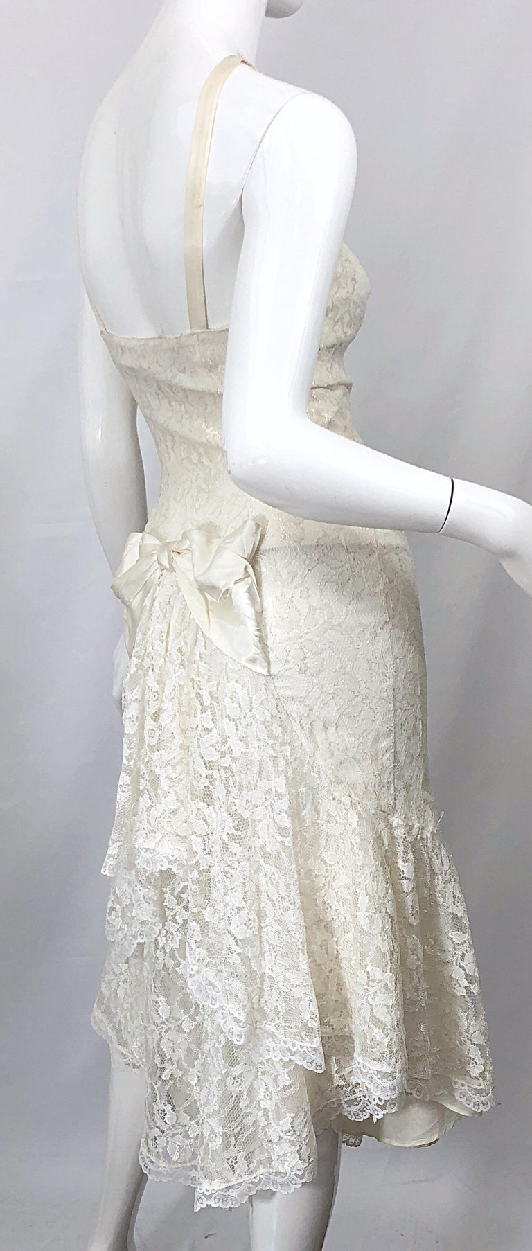 1980s Samir Ivory White Lace Handkerchief Hem Embroidered Vintage 80s Dress For Sale 3