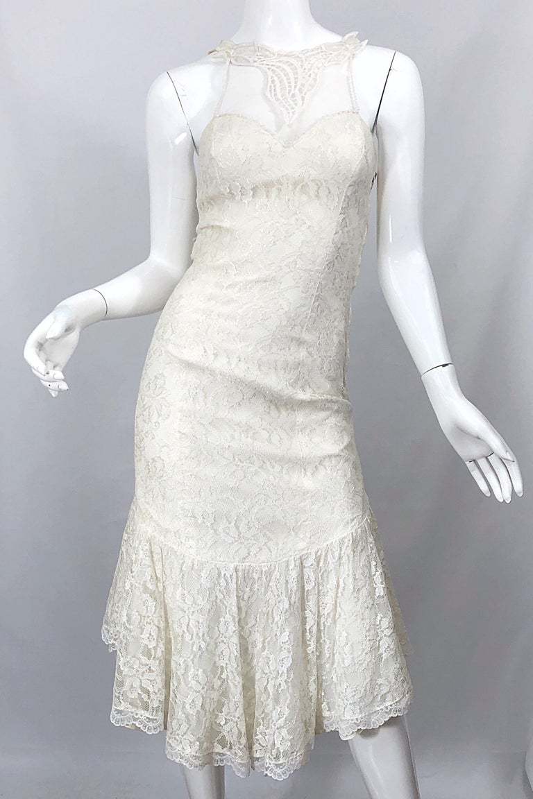 1980s Samir Ivory White Lace Handkerchief Hem Embroidered Vintage 80s Dress For Sale 4