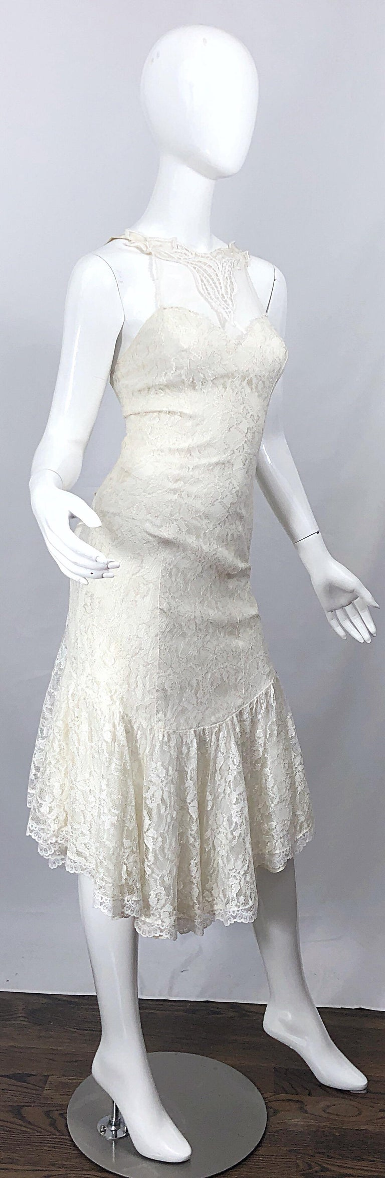 1980s Samir Ivory White Lace Handkerchief Hem Embroidered Vintage 80s Dress For Sale 5