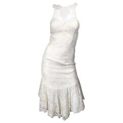 1980s Samir Ivory White Lace Handkerchief Hem Embroidered Vintage 80s Dress