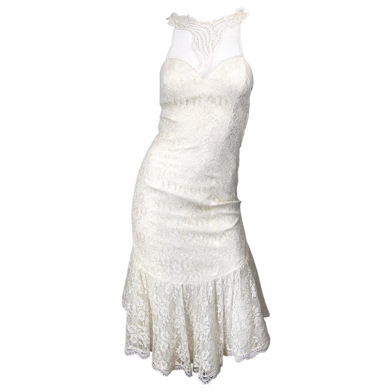 1980s Samir Ivory White Lace Handkerchief Hem Embroidered Vintage 80s Dress For Sale