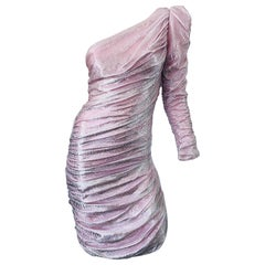 1980s Samir Pink / Silver Metallic Lurex One Shoulder Vintage 80s Ruched Dress