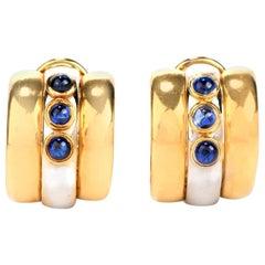 1980s Sapphire 18 Karat Gold Two-Tone Cabochon Clip-On Hoop Earrings