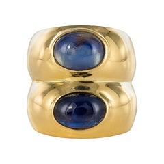 1980s Sapphire 18 Karat Yellow Gold Double Bangle Bulgari Ring