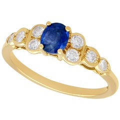 1980s Sapphire and Diamond Yellow Gold Cocktail Ring