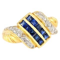 1980s Sapphire and Diamonds Ring