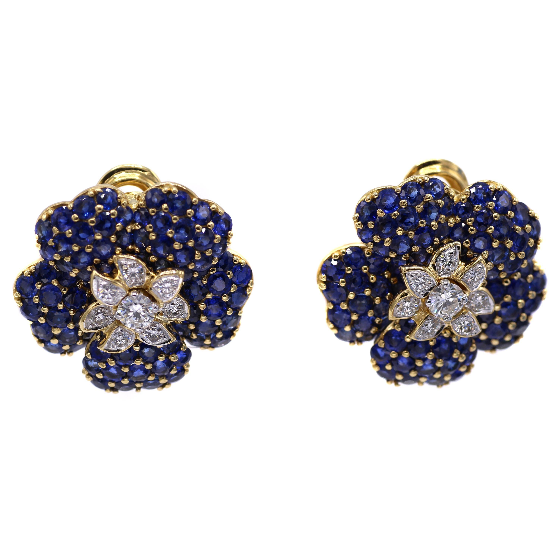 1980s Sapphire Diamond 18 Karat Gold Ear Clips