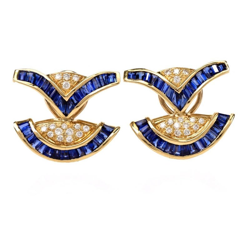 1980s Sapphire Diamond Yellow Gold Clip-On Earrings