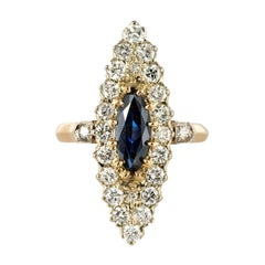 1980s Sapphire Diamonds 18 Karat Gold Marquise Ring