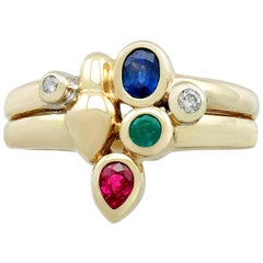1980s Sapphire and Ruby, Emerald and Diamond Yellow Gold Dress Ring