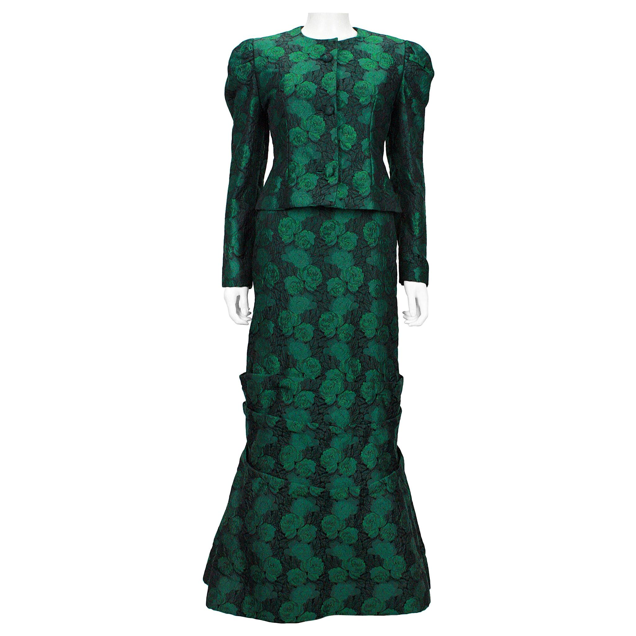 1980s Scaasi Off The Shoulder Green & Black Floral Brocade Gown with Jacket