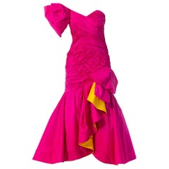 1980S SCAASI Hot Pink & Yellow Silk Taffeta One Shoulder Giant Bow  Gown Coutur