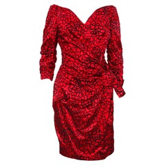 1980s Scaasi Red and Black Cocktail Dress
