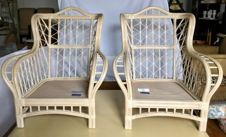 1980s Sculptural Rattan Faux Bamboo Wing Chairs with Ottomans by Lane In Good Condition For Sale In Lambertville, NJ