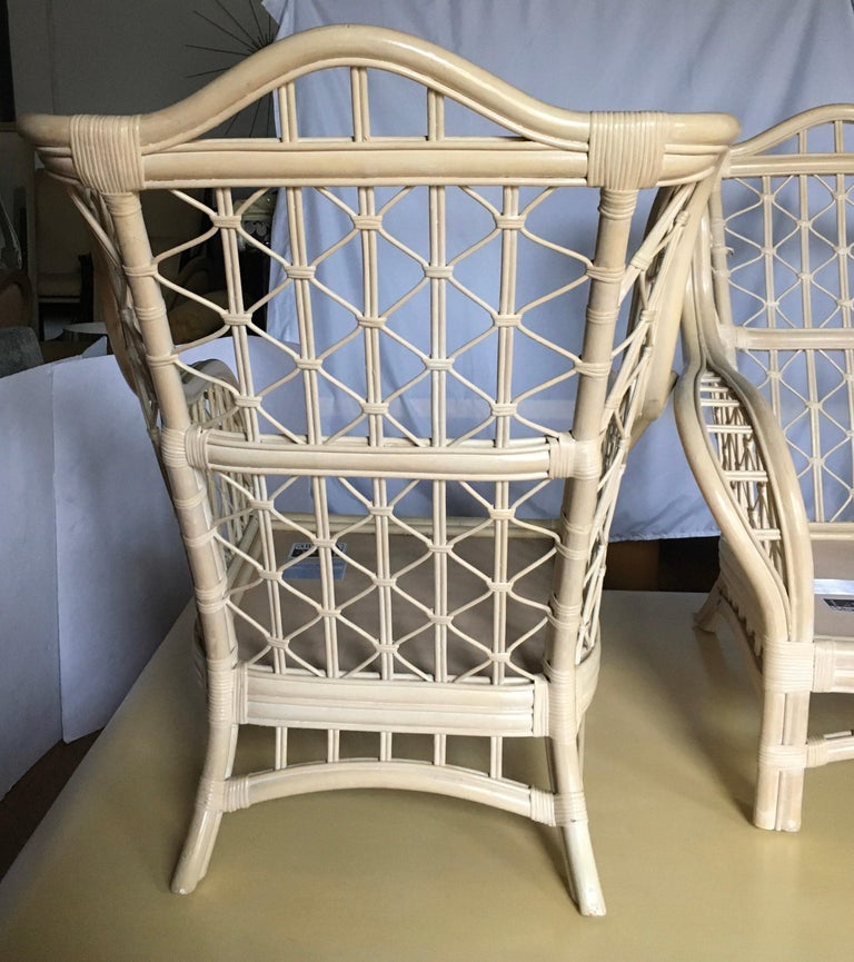 Upholstery 1980s Sculptural Rattan Faux Bamboo Wing Chairs with Ottomans by Lane For Sale