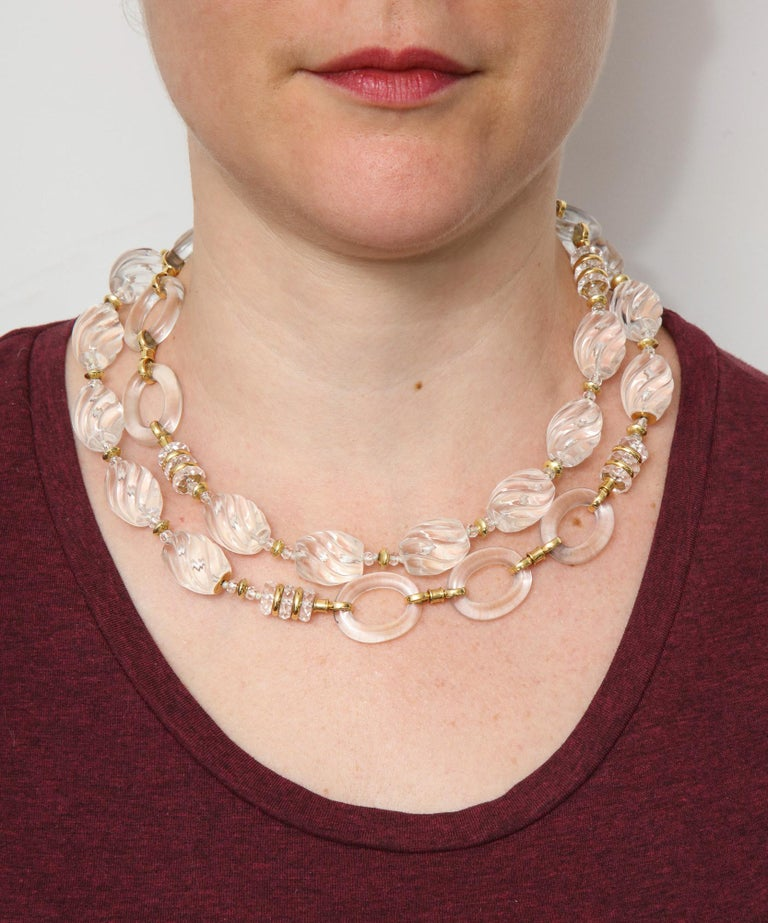 1980s Seaman Schepps Carved and Open Link Rock Crystal Gold Discs Necklace For Sale 7