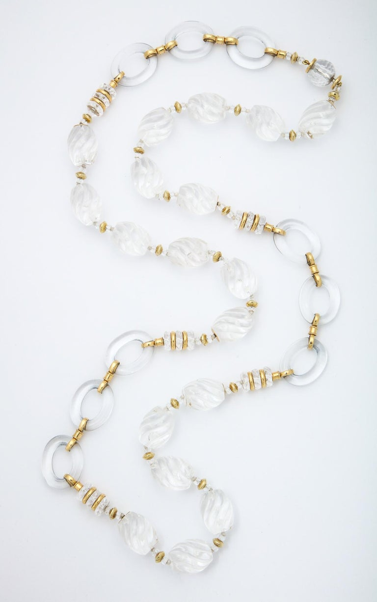 1980s Seaman Schepps Carved and Open Link Rock Crystal Gold Discs Necklace In Good Condition For Sale In New York, NY