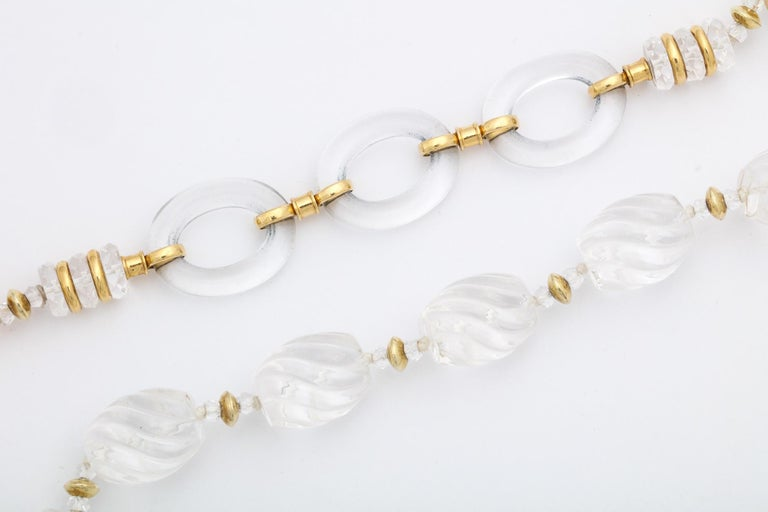 Women's 1980s Seaman Schepps Carved and Open Link Rock Crystal Gold Discs Necklace For Sale