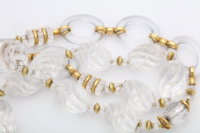 1980s Seaman Schepps Carved and Open Link Rock Crystal Gold Discs Necklace For Sale 1