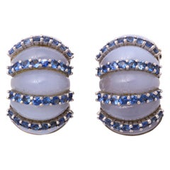 1980s Seaman Schepps Chalcedony with Sapphires Gold Shrimp Style Earclips