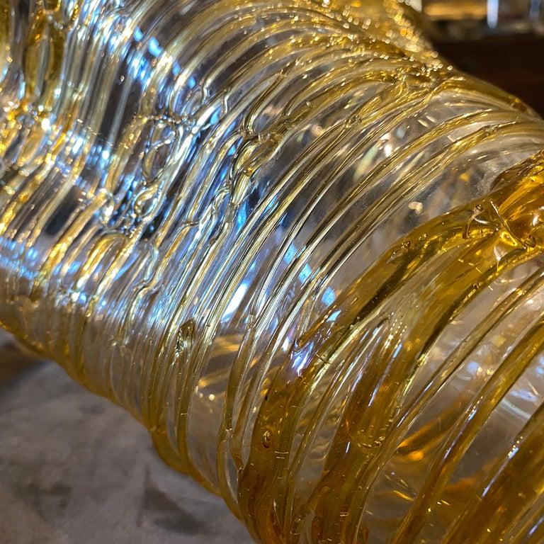 1980s Sergio Costantini Modernist Yellow Murano Glass Vase For Sale 1