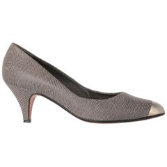 1980s Sergio Rossi Grey Low-heeled Pumps