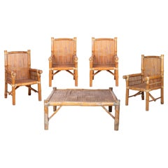 1980s Set Consisting of Four Armchairs and a Bamboo Coffe Table