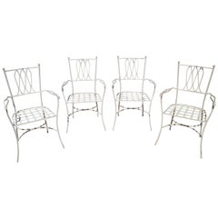 1980s Set of 4 Aluminium Garden Chairs Painted in White