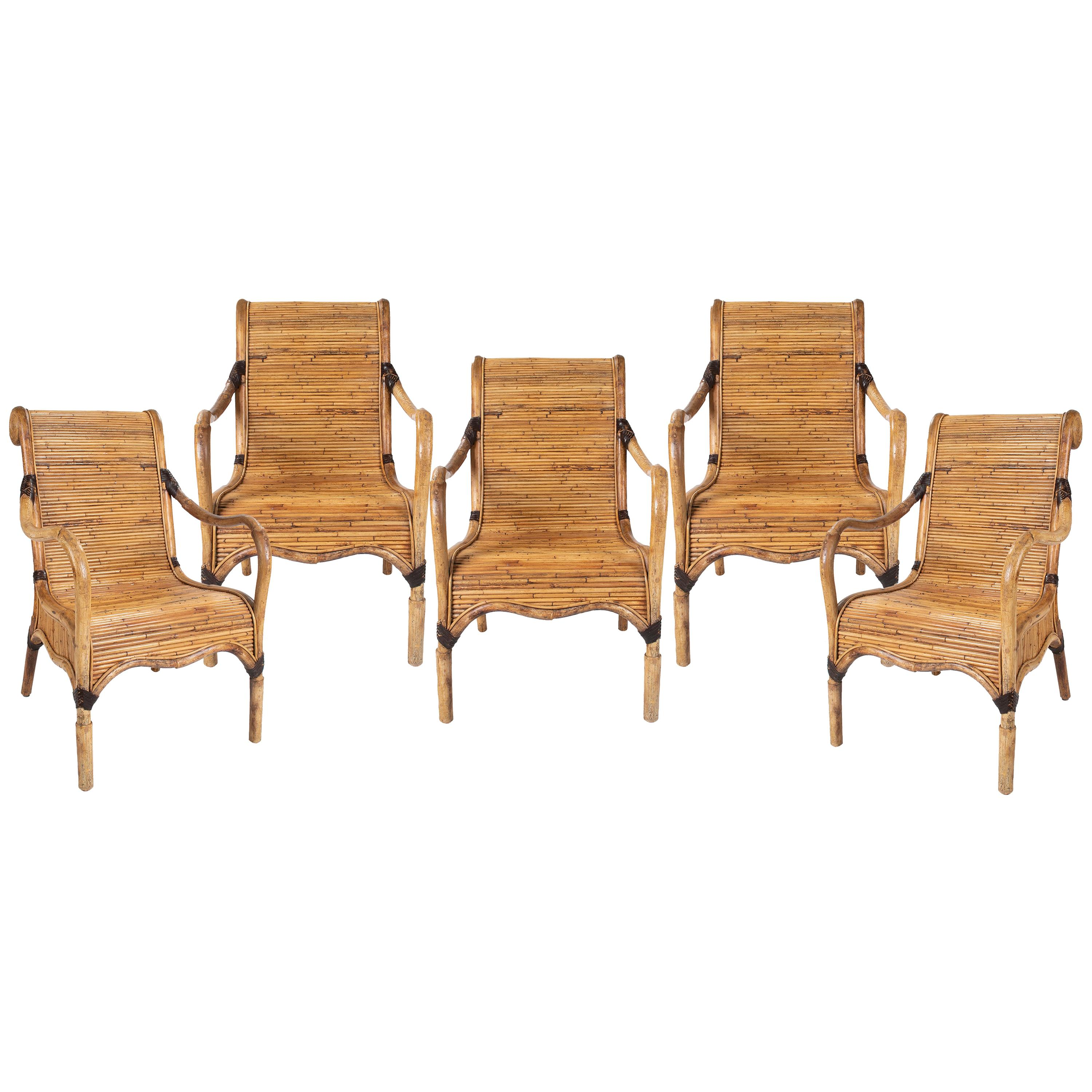 1980s Set of Five Spanish Hand Woven Bamboo Armchairs