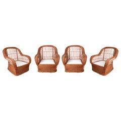 1980s Set of Four Hand Woven Rattan Garden Armchairs